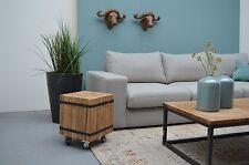 Teak Holz Beistelltisch Couch Ozzy auf Rollen & Stahlbändern 35cm x 35cm x 45cm
