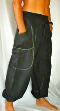 Balloon Harem Festival Trousers Mens and Ladies Black / Green Piping