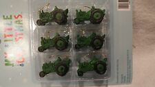 6 MINI GREEN TRACTORS CHRISTMAS ORNAMENTS