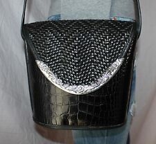 Vtg. BRIGHTON Black Small Med Leather Shoulder Bucket Tote Satchel Purse Bag