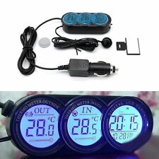 Car Triple Digital Clock Temperature Thermometer Gauge Inside Outside Custom Mod