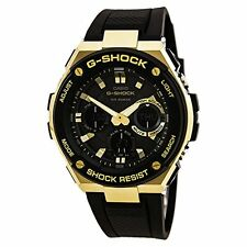 Casio Mens G-Shock G-Steel Solar Watch - Gold Accents - Black Strap GSTS100G-1A