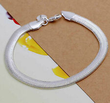 High Quality 5mm flat 925 Sterling Silver Bracelet Charm Snake Chain Luxury L356