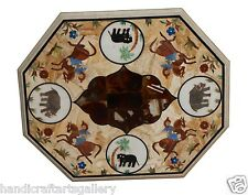 "Size 20""x24"" Marble Coffee Table Top Mosaic Horse Inlay Marquetry Deco Furniture"