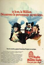Publicité advertising 1979 Radio RMC Monte Carlo Le Million