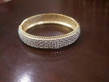 NEW IN BOX WOMEN'S DIAMOND ACCENT LARGE TWO TONE BANGLE 18K GOLD PLATED