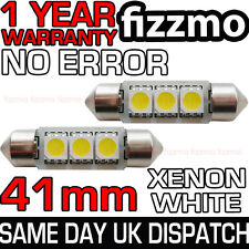 2x 41mm 264 C5W SV8.5 6000k BRIGHT WHITE 3 SMD LED FESTOON LIGHT BULB ERROR FREE