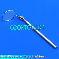 "2"" Round Telescoping Inspection Mirror Extend 6.5"" to 24"" Stainless Steel Handle"