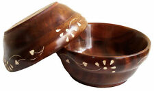 Wooden 6 Bowls Set With White Inlay Work 5 Inches &  Free 6 Tea Spoons Gift Item