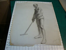 """vintage Drawing: early 1900's OLDER MAN in Underware K S BOWERS- aprox 18 x 24"""""""