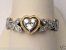 Yellow Gold Vintage Sculptural Halo Style Heart Shape Diamonds Engagement Ring
