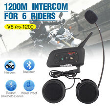 1200M BT Intercom Interphone Bluetooth Motorcycle Helmet headset V6 for 6 Riders