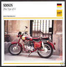 1957 Simson 250cc Type 425 S (247cc) German Motorcycle Photo Spec Info Stat Card