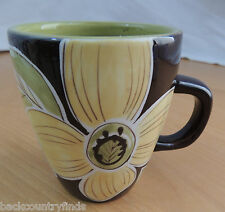 CAFE MOCHA by Laurie Gates Brown & Green with Yellow Flowers Coffee Mug