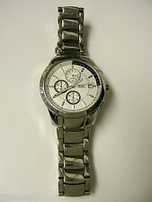 (M) RELIC BY FOSSIL SILVER CHRONOGRAPH WATCH ZR66016 PRE-OWNED WORKING BATTERY