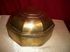 "VINTAGE LARGE SOLID BRASS (5 1/2 LBS.) OCTAGON BETEL NUTS OR STORAGE BOX 9"" X 9"""