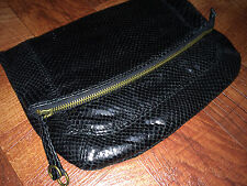 NWT Ralph Lauren Rugby Luxurious Folded Black Faux Snake Leather Handbag Clutch