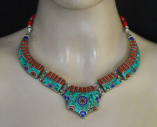 Tibetan Ethnic Sterling Silver Necklace Handmade Asian Jewelry Turquoise 9UN