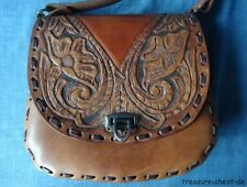 VINTAGE Boho Hand Tooled Floral Leather Handbag / Shoulder Bag, Hippie Retro