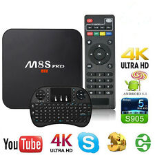 M8S S905 4K HD Smart TV Box Android 5.1 WIFI Media Player Quad Core2+8G+Keyboard