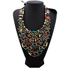 Vogue Jewelry Multicolor Resin Seed Beads Necklace Ribbon Collar Bib Pendant Hot