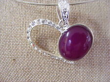 BOTSWANA AGATE PURPLE  HEART SHAPED PENDANT  LARGE BAIL TIBETAN SILVER SETTING