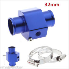 Blue 32mm Water Temperature Temp Sensor Gauge Joint Pipe Radiator Hose Adapter
