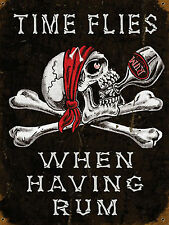 retro metal signs - Time Flies (bar/pub/man cave/shed/funny/quirky/motorbike)