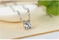 """Rhodium Plate 925 Sterling Silver 6mm 0.75ct Cubic Zirconia Pendant 18"""" Necklace"""
