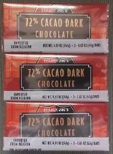 9 TRADER JOES 72% CACAO Belgium Dark Chocolate Candy Bars NO ARTIFICIAL FLAVORS