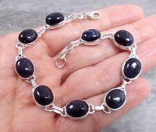 925 Silver BLUE GOLDSTONE Sunstone Bracelet B508~Silverwave*uk Jewellery