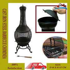 115cm SOLIDO GHISA Chimenea & BBQ Combi Bronzo Chiminea Patio stufa barbecue