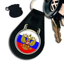 RUSSIA RUSSIAN FLAG  COAT OF ARMS LEATHER KEYRING / KEYFOB