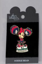 Disney Disneyland Cheer Cheerleader Minnie Mouse w/Pom-Poms Bobble Pin & Card