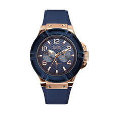 Guess Blue and Rose Gold Tone Rigor chronograph W0247G3 mens watch.NEW