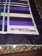 "Vtg Nina Ricci Scarf Purple/Black/White/Teal 100% Silk Made in France 29""x30"""