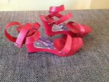 CASADEI RED Wedge Platform Leather Womens Shoes CLEAR WEDGE- ankle strap- 7  1/2