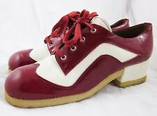 VTG CORELLI SPAIN PLATFORM WINGTIP OXFORDS Cherry Red Patent Leather HEELS 8 B