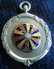 Attractive Silver & Enamel Darts Medal / Watch Fob 1944 - Darts Board