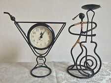 2 LOT: Metal Wine Glass Clock Art Battery Operated & Candle Holder Musician Home