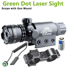Green Dot Laser Sight Rifle Gun Scope w/ Rail & Barrel Mount Cap Pressure Switch