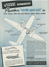 1949 Vickers Aircraft Hydraulics Ad Continental Airlines 15th Anniversary