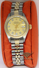 Rolex Datejust 14k Gold/Steel Diamond Dial American Bracelet Ladies Watch 6917