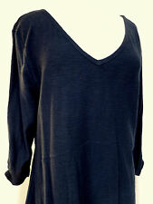 Tunic Top V-Neck 3/4 Ruched Sleeves Dark Inductrial Blue Sx XL Style & Co