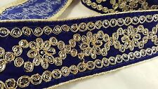 Splendido 78mm Blue Ribbon con oro abbellimento Pizzo 4 ARTIGIANALE bordatura 5m