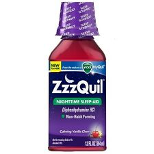ZzzQuil Nighttime Sleep-Aid, Calming Vanilla Cherry 12 oz (Pack of 2)