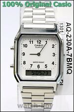 AQ-230A-7B White Casio Watch Vintage Silver Analog Digital Stainless Steel Band