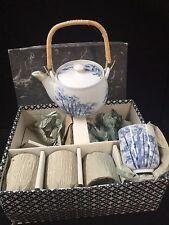 Vintage Blue White Tea Set Teapot and 4 cups. Excellent Condition