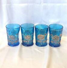 """SET OF 4 NORTHWOOD BLUE WITH GOLD """"ORIENTAL POPPY"""" TUMBLERS"""