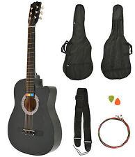 Akustik Western Gitarre Westerngitarre Schwarz + Gitarrentasche + Saiten NEU